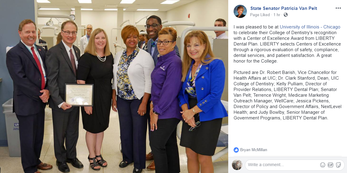 Celebrate College of Dentistry's Recognition with IL State Senator Patricia Van Pelt